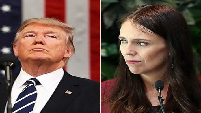 Trump with New Zealand Prime Minister Jacinda Ardern