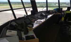 Newly installed communication gadgets at the Control Tower�